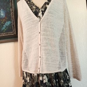 LUCKY BRAND cardigan oatmeal l/s open knit size XL